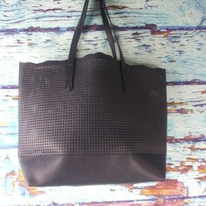 Neiman Marcus Navy Blue Perforated Shopper tote